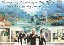vanuatu underwater post office 10th anniversary miniblock
